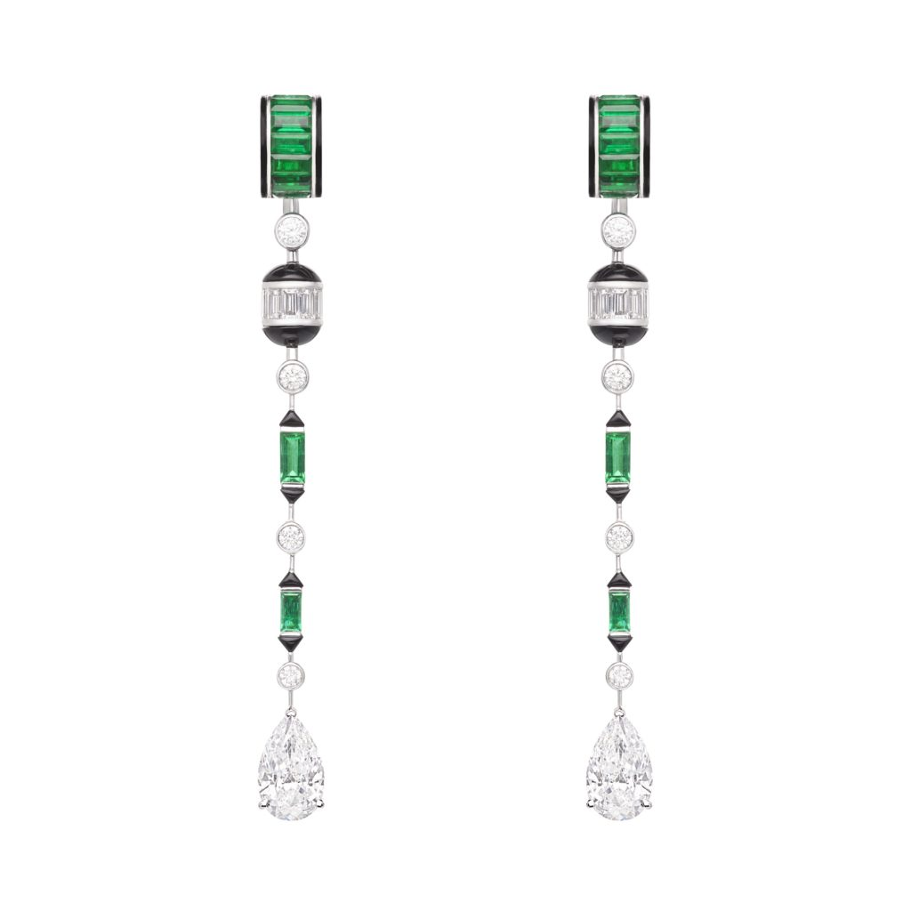 BOUCHERON: Pluie Art Déco Pendant Earrings From Nature Triomphante High Jewelry Collection Set With Two Pear Diamonds, Emeralds And Onyx, Paved With Diamonds, On White Gold