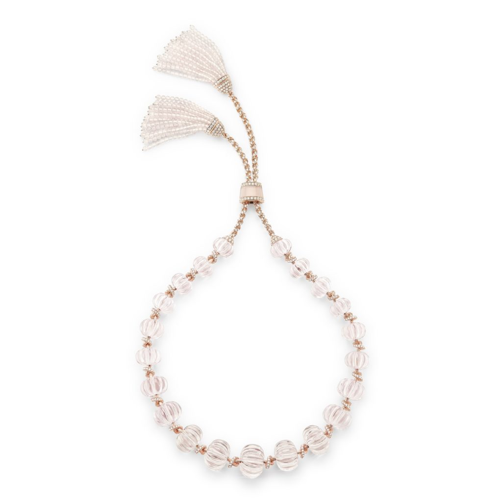 BOUCHERON: Pompon Morganite Necklace From Nature Triomphante High Jewelry Collection Set With Morganites, Paved With Pink Quartz And Diamonds, On Pink Gold