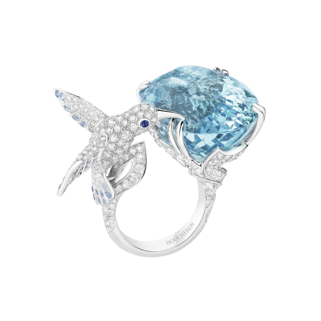 BOUCHERON: Hopi The Hummingbird Set With An Aquamarine, Paved With Diamonds And Sapphires, In White Gold
